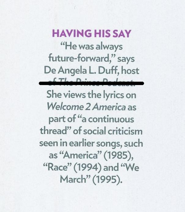People Magazine Prince Special Edition 2021 De Angela Quote